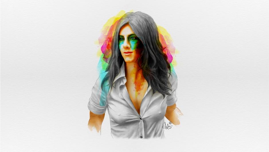 Jennifer Aniston Fan Art Portrait Wallpaper by GFRI